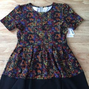 LuLaRoe AMELIA Dress Bright Multicolor Pockets NEW